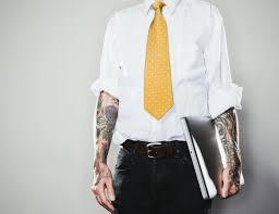 Sleeve tattoo at interview