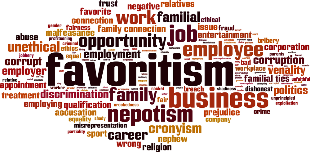 favouritism word cloud