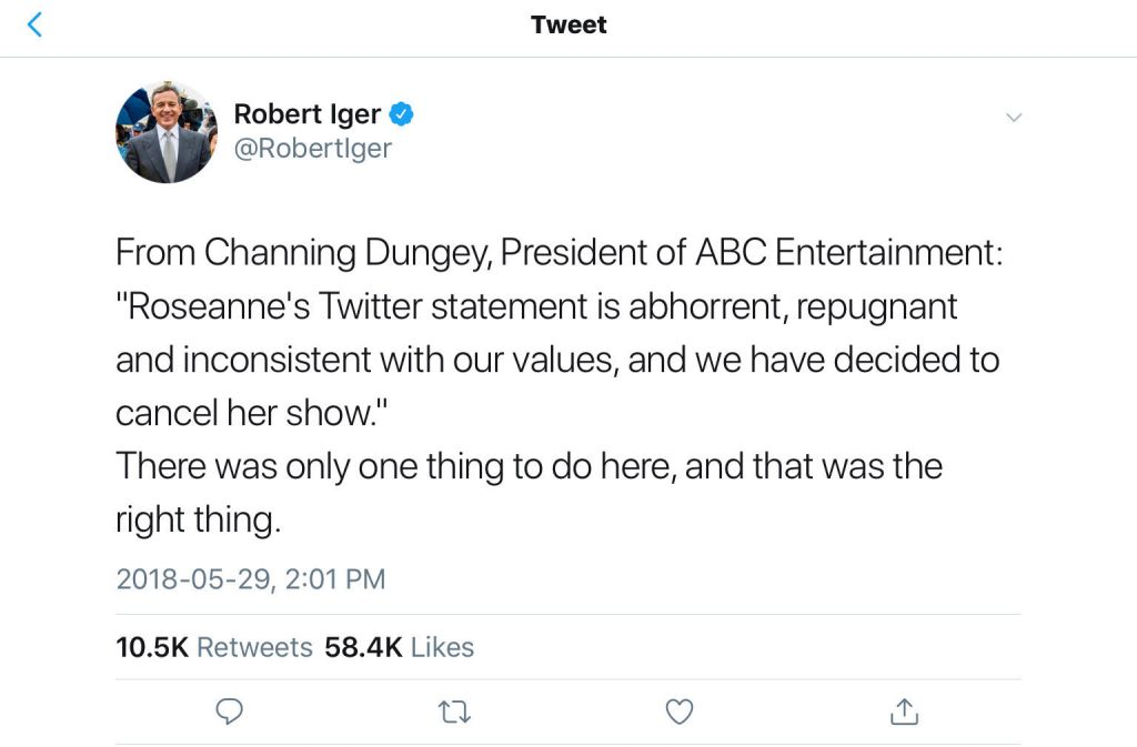 ABC cancels tv show because of racism demonstrated by star actress