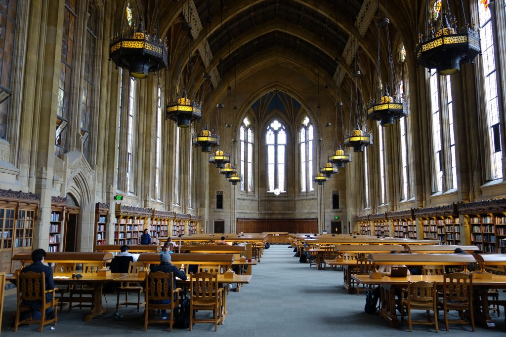 inside an ivy league library