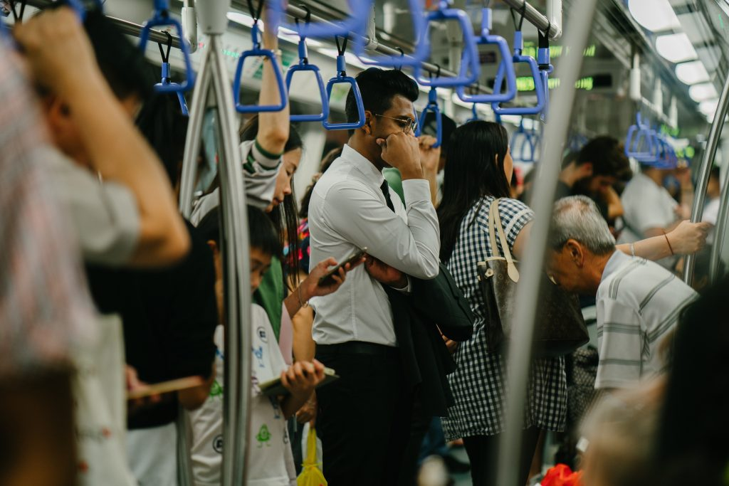return to work via mass transit after holidays