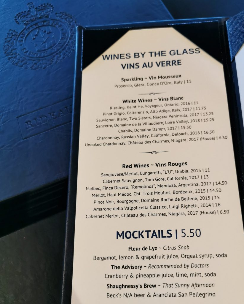 mocktails offered at the Rideau Club in 2019
