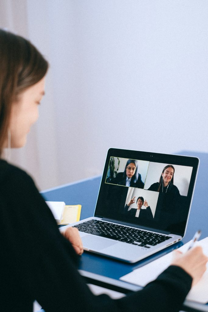 person on video call for work